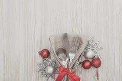 Bakgrund för inställning för julmåltabell Arkivfoto