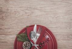 Bakgrund för inställning för julmåltabell Royaltyfri Foto
