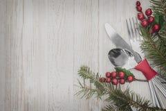 Bakgrund för inställning för julmåltabell Fotografering för Bildbyråer