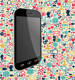 Bakgrund för Iphone social massmediasymbol Arkivfoto