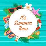 Bakgrund för It's sommartid Sommarmalldesign Vektor il Royaltyfria Bilder