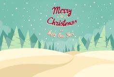 Bakgrund för jul för vinterskoglandskapet, sörjer vektor illustrationer