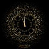 Bakgrund för jul och för lyckligt nytt år med klockan vektor royaltyfria bilder