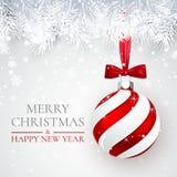 Bakgrund för jul och för nytt år med julbollen, granfilialen och snö för xmas-design också vektor för coreldrawillustration stock illustrationer