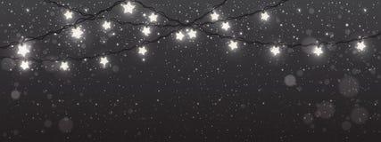 Bakgrund för jul och för nytt år med ljus, glödande vita girlander för Xmas-garneringar royaltyfri illustrationer