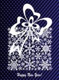 Bakgrund för jul och för nytt år, närvarande ask som göras från snöflingor Royaltyfri Bild