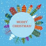 Bakgrund för juljordferie Runt baner med träd, tecknad filmhus och snögubben Kort för stad för julplanetstad royaltyfri illustrationer