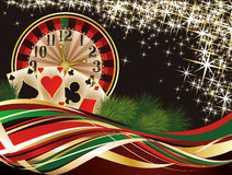 Bakgrund för julkasinoinbjudan Fotografering för Bildbyråer