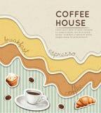 Bakgrund för kaffe för klistermärkeetikettstil Fotografering för Bildbyråer