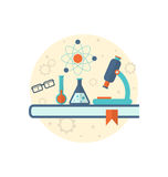 Bakgrund för kemisk teknik med den plana symbolen av objekt Royaltyfria Bilder