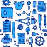 Bakgrund för kontor för affärsklotter sömlös, vektor Fotografering för Bildbyråer
