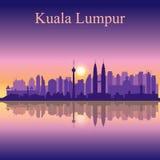Bakgrund för kontur för Kuala Lumpur stadshorisont royaltyfri illustrationer