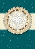 Bakgrund för kort för glad jul med flingan Royaltyfri Bild