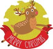 Bakgrund för kort för julhjorthälsning Fotografering för Bildbyråer