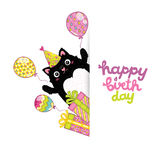 Bakgrund för kort för lycklig födelsedag med en katt royaltyfri illustrationer