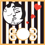 Bakgrund för kort för man och för kvinna för vektor Retro kyssande med design e Arkivfoto