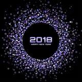 Bakgrund för kort för lyckligt nytt år 2018 för vektor Violet Bright Disco Lights Halftone cirkelram Arkivbild