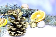 Bakgrund för kortet för ` s för det nya året med guld- gran för jul sörjer kotten Arkivbild