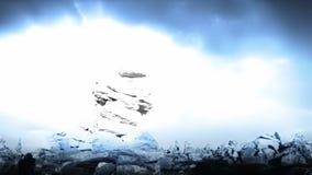 Bakgrund för landskap för blixtstormfantasi stock video