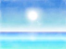 Bakgrund för landskap för vattenfärgsommarstrand Royaltyfri Foto
