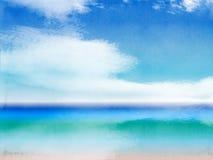 Bakgrund för landskap för vattenfärgsommarstrand med moln Arkivfoton