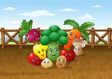 Bakgrund för lantgård för tecknad filmgrönsakträdgård royaltyfri illustrationer