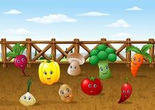 Bakgrund för lantgård för tecknad filmgrönsakträdgård vektor illustrationer