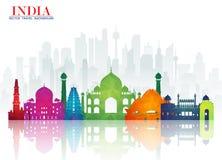 Bakgrund för lopp och för resa för Indien gränsmärke global pappers- Vecto royaltyfri illustrationer