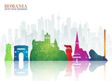 Bakgrund för lopp och för resa för Rumänien gränsmärke global pappers- Vec royaltyfri illustrationer