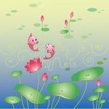 Bakgrund för Lotus blomma och fisk Royaltyfria Bilder