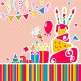 Bakgrund för lycklig födelsedag för vektor. Hälsningkort Royaltyfri Foto