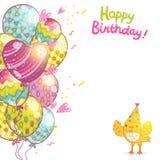 Bakgrund för lycklig födelsedag med fågeln och ballonger. Royaltyfri Fotografi