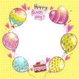 Bakgrund för lycklig födelsedag med kakan och ballonger. Royaltyfria Foton