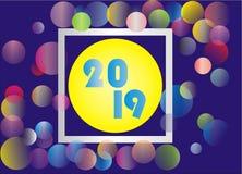 Bakgrund 2019 för lyckligt nytt år vektor illustrationer