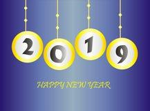 Bakgrund 2019 för lyckligt nytt år stock illustrationer