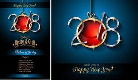 2018 bakgrund för lyckligt nytt år för din säsongsbetonade reklamblad och Gree Royaltyfria Bilder