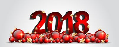 2018 bakgrund för lyckligt nytt år för din säsongsbetonade reklamblad och Gree Arkivbilder