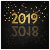 2019 bakgrund för lyckligt nytt år för ditt säsongsbetonade reklamblad, baner, klistermärke och hälsningskort 2018 till 2019 vektor illustrationer
