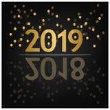 2019 bakgrund för lyckligt nytt år för ditt säsongsbetonade reklamblad, baner, klistermärke och hälsningskort 2018 till 2019 royaltyfri illustrationer