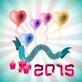 Bakgrund för lyckligt nytt år för vektor 2015 med hjärtaballongen Arkivbild