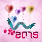 Bakgrund för lyckligt nytt år för vektor 2015 med hjärtaballongen Royaltyfri Fotografi