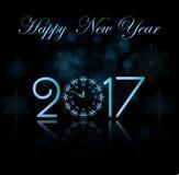 Bakgrund för lyckligt nytt år för vektor 2017 med klockan royaltyfri illustrationer