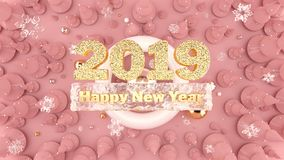 Bakgrund 2019 för lyckligt nytt år med dekorerade julträd, fallande snöflingor och guldnummer 2019 royaltyfria bilder