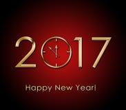 2017 bakgrund för lyckligt nytt år med den guld- klockan stock illustrationer