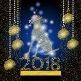 Bakgrund 2018 för lyckligt nytt år med dogg av den kinesiska kalendern Royaltyfri Bild