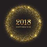 Bakgrund för lyckligt nytt år med glittery guld- cirklar royaltyfri illustrationer