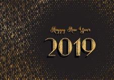Bakgrund för lyckligt nytt år med glittery och typografidesign stock illustrationer