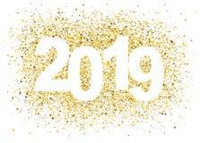 2019 bakgrund för lyckligt nytt år med guld- blänker nummer royaltyfri illustrationer