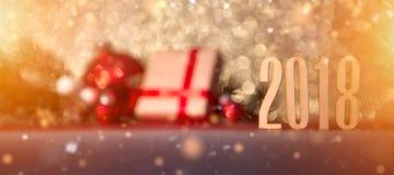 Bakgrund 2018 för lyckligt nytt år med julgarnering Royaltyfria Bilder