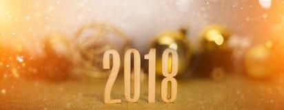 Bakgrund 2018 för lyckligt nytt år med julgarnering Arkivfoto